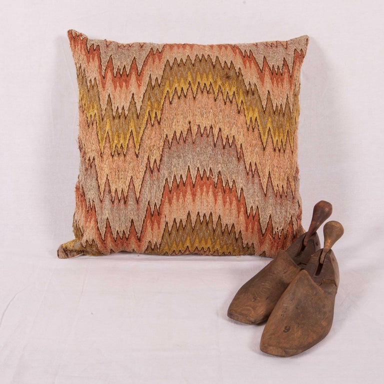 Aesthetic Movement Antique Pillow Made from a 18th-19th Century Italian Bargello Flame Stitch For Sale
