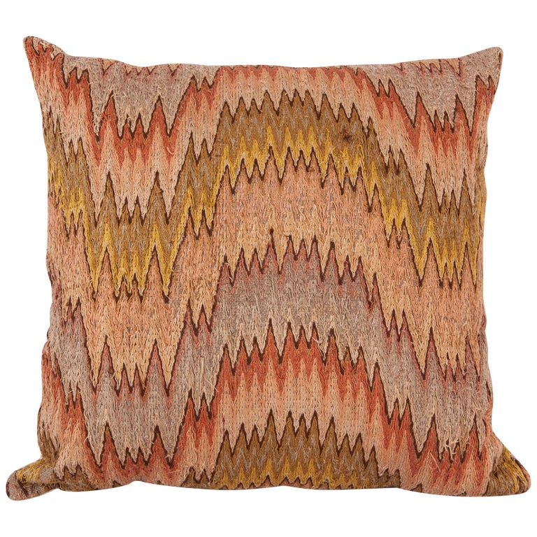 Antique Pillow Made from a 18th-19th Century Italian Bargello Flame Stitch For Sale