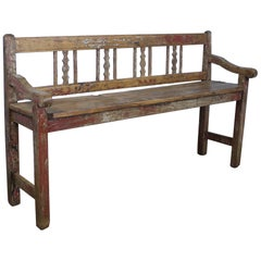 Antique Pine and Elm Hall Bench, Original Paint