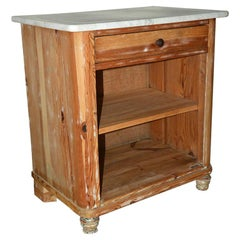 Antique Pine and Marble Top Nightstand