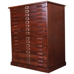 Antique Pine Architect's Blueprint 16-Drawer Flat File Cabinet, Newly Refinished