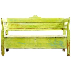 Antique Pine Bench with Original Paint