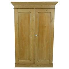 Antique Pine Cupboard, Stripped Pine 2 Door Armoire, Scotland, 1880