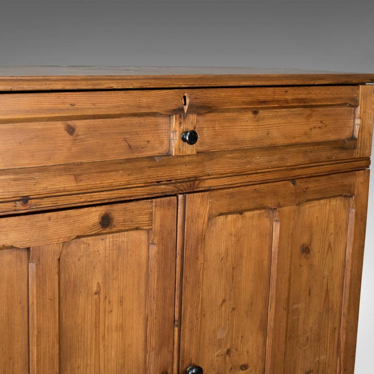 Antique Pine Cupboard, English, Victorian, Cabinet, Pitch Pine, circa 1880 For Sale 1