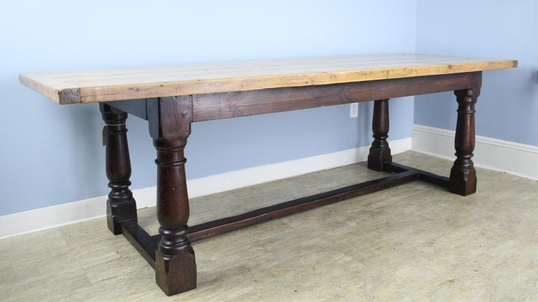 Antique Pine Dining Table with Refectory Base 6