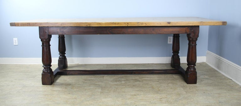 English Antique Pine Dining Table with Refectory Base