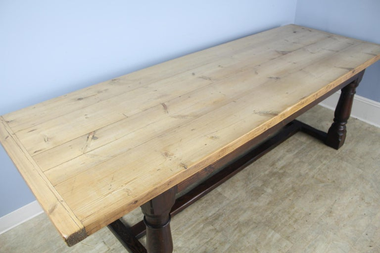 Antique Pine Dining Table with Refectory Base In Good Condition In Port Chester, NY