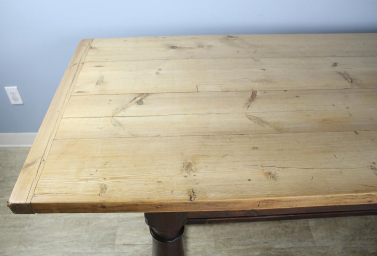 19th Century Antique Pine Dining Table with Refectory Base