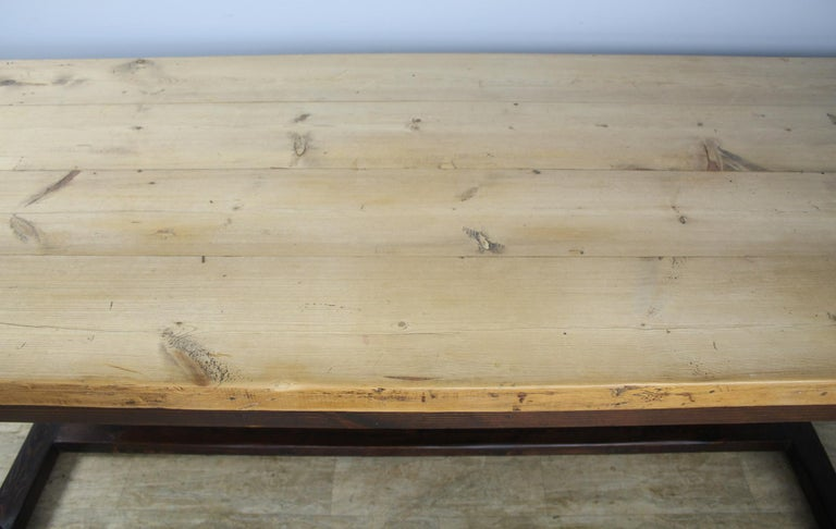 Antique Pine Dining Table with Refectory Base 1
