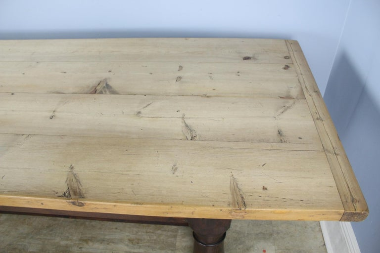 Antique Pine Dining Table with Refectory Base 2
