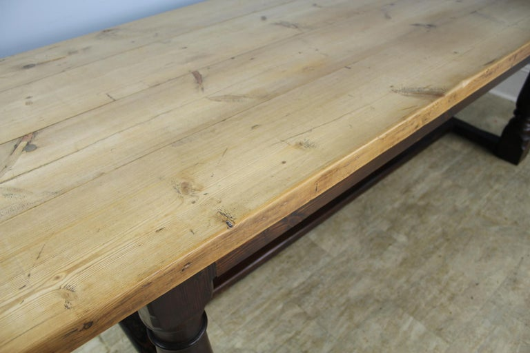 Antique Pine Dining Table with Refectory Base 3