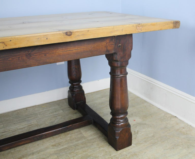 Antique Pine Dining Table with Refectory Base 4