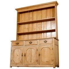 Antique Pine Dresser with Brass Handles, 20th Century