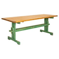 Antique Pine Farm Table with Original Green Painted Trestle Base