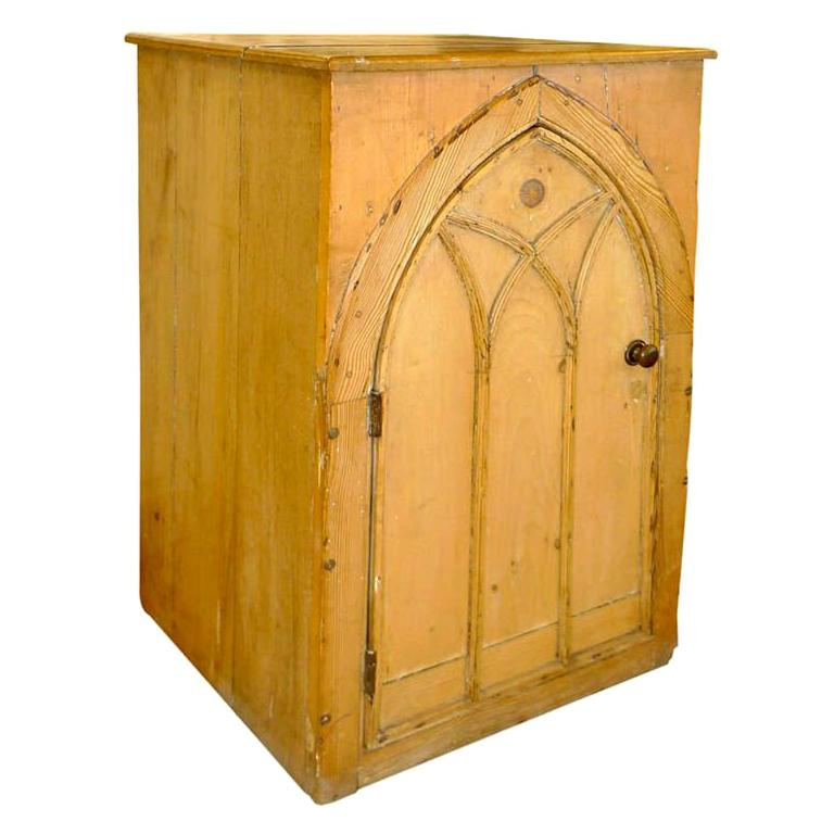 Gothic Cabinet in Knotted Pine For Sale
