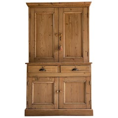 Antique Pine Housekeepers Cupboard 19th Century Victorian Circa 1890