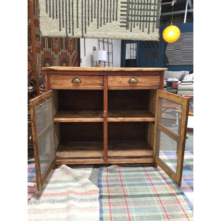 Mid-20th Century Antique Pine Mesh Cabinet For Sale