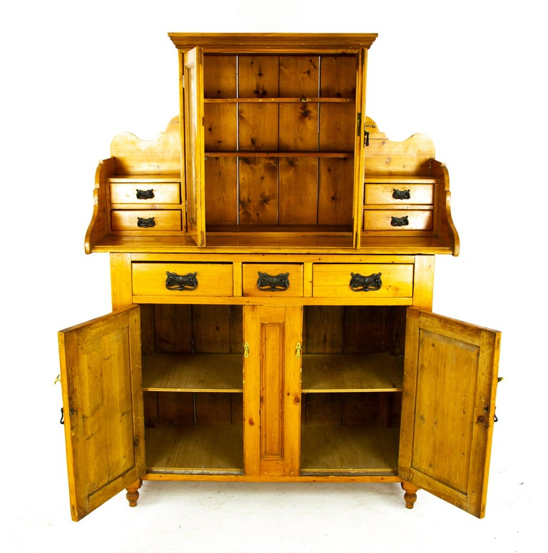 Antique pine farmhouse kitchen dresser, antique pine sideboard, Farmhouse sideboard, kitchen dresser, Antique Furniture, Scotland 1880, B1459  Scotland, 1880 Solid pine construction Pair of original glass doors with two fixed shelves to the