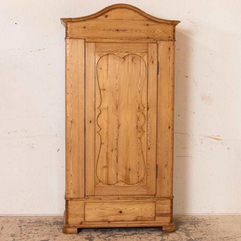 Danish Antique Pine Single Door Armoire with Curved Panels For Sale