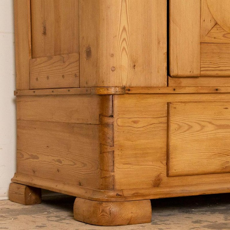 Antique Pine Single Door Armoire with Curved Panels For Sale 1
