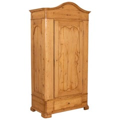 Antique Pine Single Door Armoire with Curved Panels