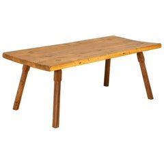 Antique Pine Slab Coffee Table with Splay Legs