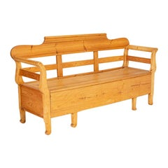 Antique Pine Swedish Bench with Storage