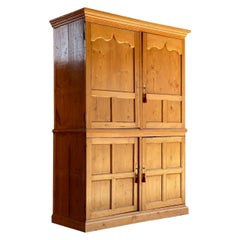 Antique Pine Wardrobe Housekeepers Cupboard 19th Century Victorian circa 1890