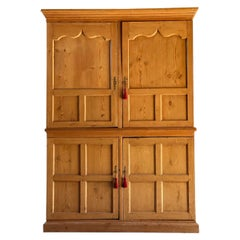 Antique Pine Wardrobe Housekeepers Cupboard 19th Century Victorian, circa 1890