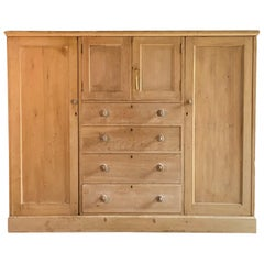 Antique Pine Wardrobe Victorian 19th Century, circa 1890