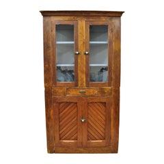 Antique Pine Wood Primitive Corner China Cabinet Cupboard Blue Painted Interior