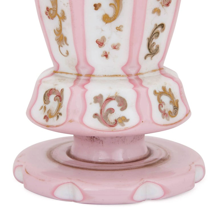 19th Century Antique Pink and White Bohemian Opaline Glass Vase For Sale