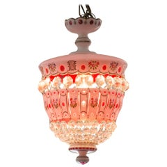 Antique Pink Bohemian Pink and White Hand Painted Glass Chandelier