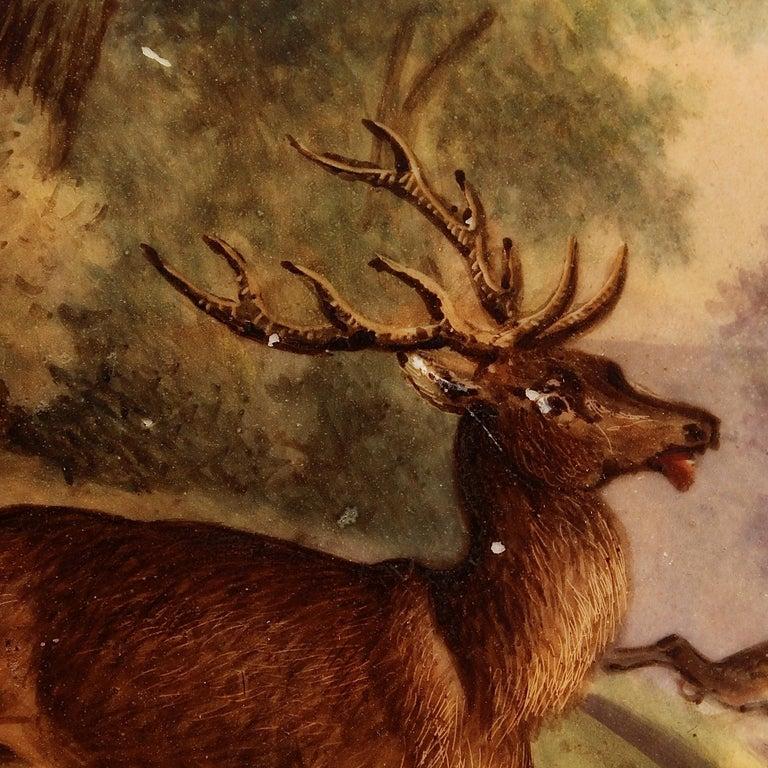 Antique Pink Border Hand Painted Paris Porcelain Deer & Dog Hunting Scene Plate  For Sale 3