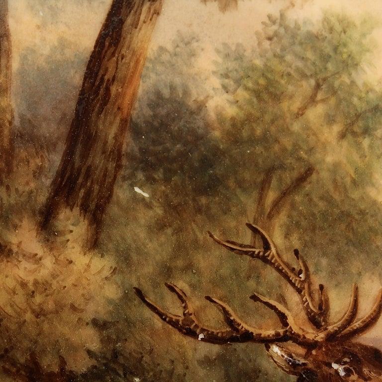 Antique Pink Border Hand Painted Paris Porcelain Deer & Dog Hunting Scene Plate  For Sale 4