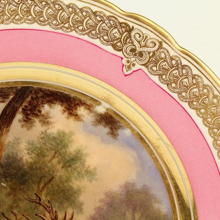 Antique Pink Border Hand Painted Paris Porcelain Deer & Dog Hunting Scene Plate  For Sale 5