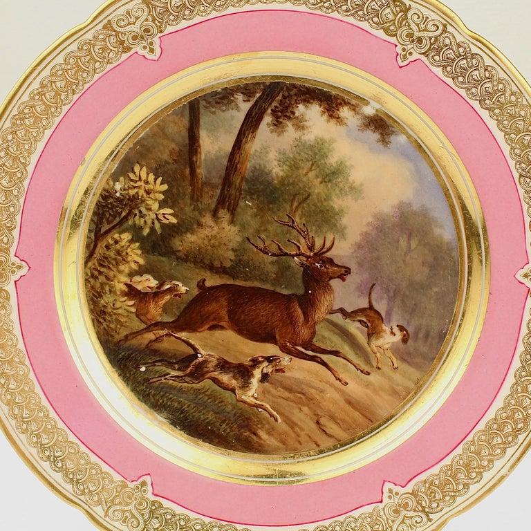 Beaux Arts Antique Pink Border Hand Painted Paris Porcelain Deer & Dog Hunting Scene Plate  For Sale