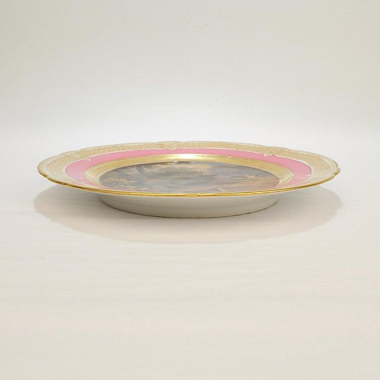 19th Century Antique Pink Border Hand Painted Paris Porcelain Deer & Dog Hunting Scene Plate  For Sale
