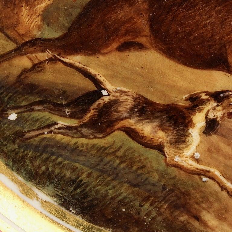 Antique Pink Border Hand Painted Paris Porcelain Deer & Dog Hunting Scene Plate  For Sale 2