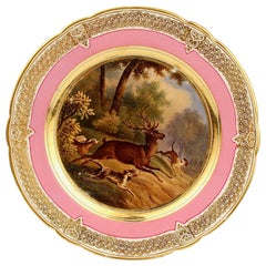 Antique Pink Border Hand Painted Paris Porcelain Deer & Dog Hunting Scene Plate