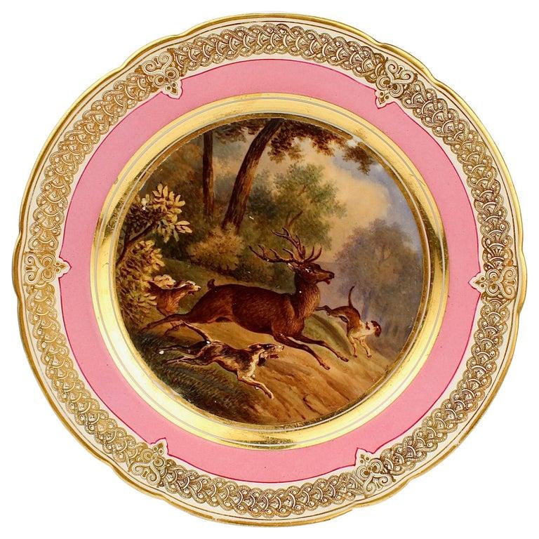 Antique Pink Border Hand Painted Paris Porcelain Deer & Dog Hunting Scene Plate  For Sale