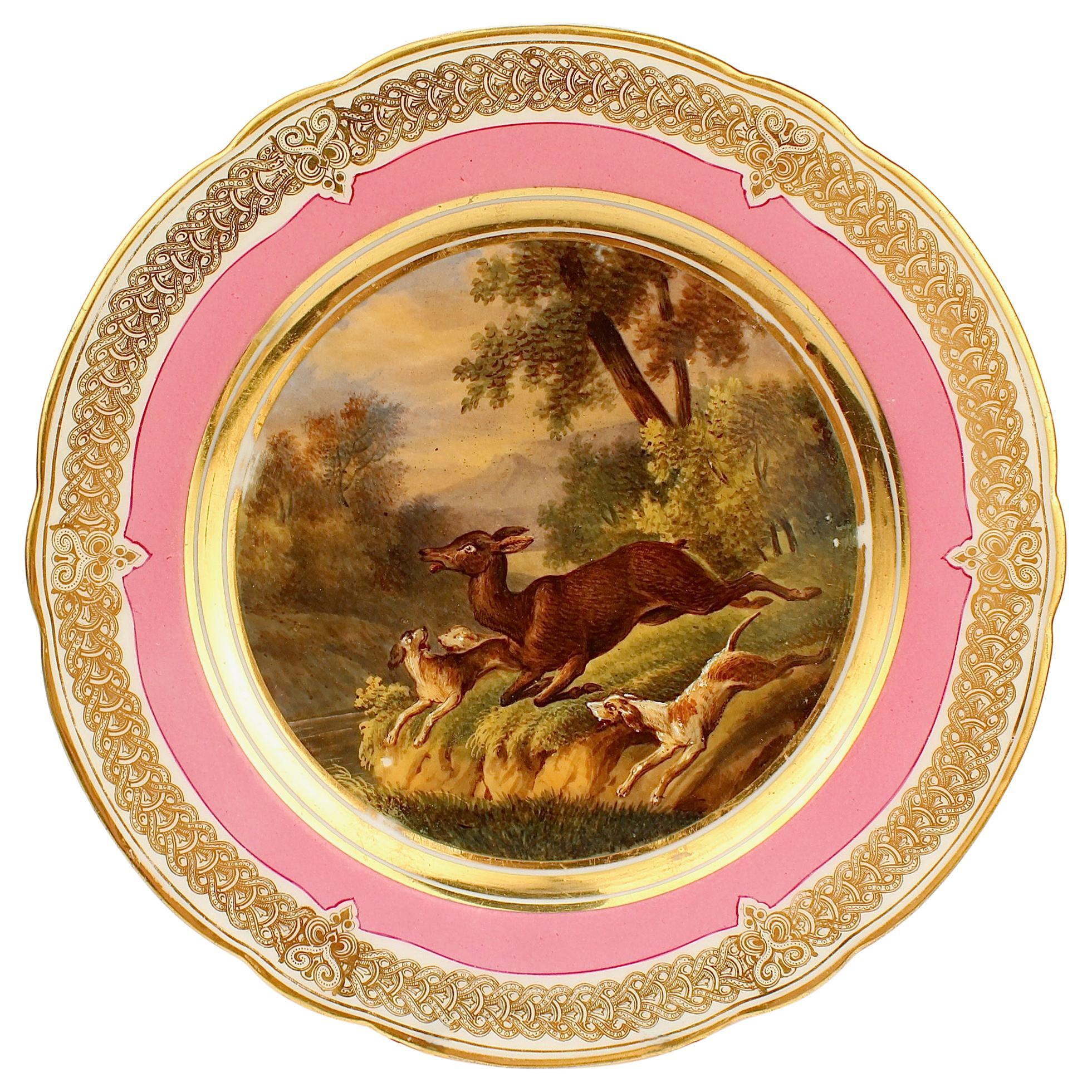 Antique Pink Border Hand Painted Paris Porcelain Deer Hunt and Dog Scene Plate