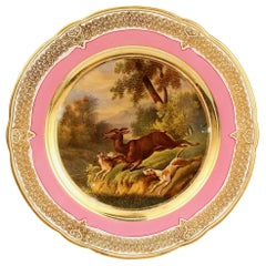 Antique Pink Border Hand Painted Paris Porcelain Deer Hunt and Dog Scene Plate