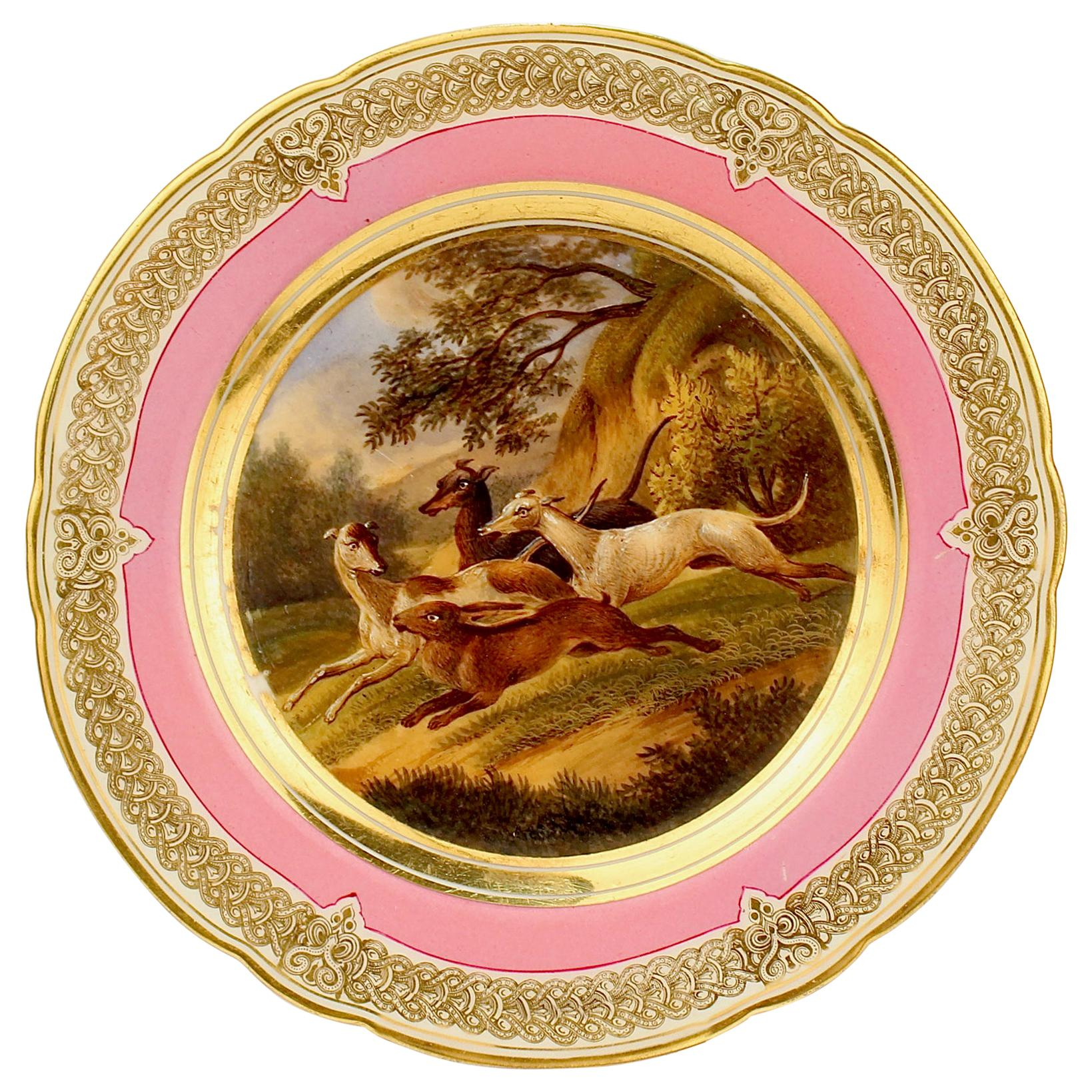 Antique Pink Border Hand Painted Paris Porcelain Rabbit Hunt and Dog Scene Plate