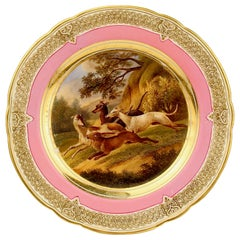Antique Pink Border Hand Painted Paris Porcelain Rabbit Hunt and Dog Scene Plate