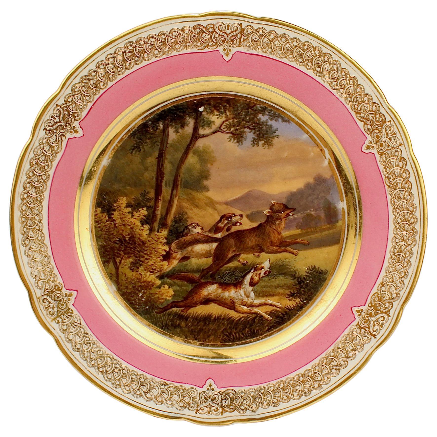 Antique Pink Border Paris Hand Painted Porcelain Fox Hunt and Dog Scene Plate