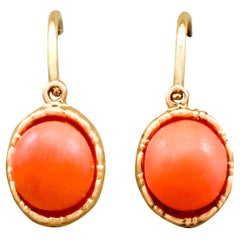 Antique Pink Coral and Yellow Gold Drop Earrings, circa 1910