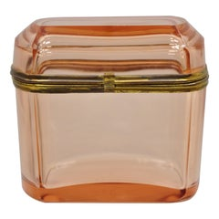 Antique Pink Glass Trinket Jewelry Casket Box Chest Brass Hinge