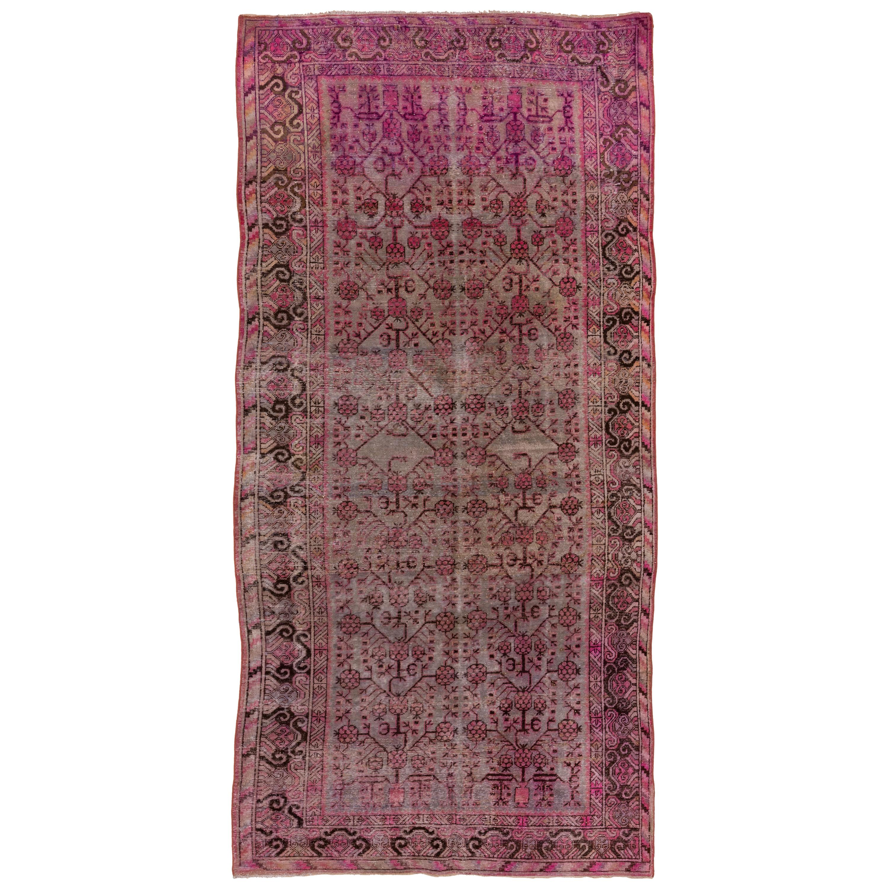Antique Pink Khotan Rug, Gray Blue and Taupe Field, Pink and Brown Accents