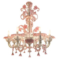 Antique Pink Murano Glass Chandelier